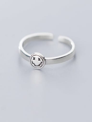 925 Sterling Silver Minimalist Face  Free Size  Ring