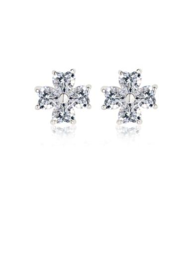 Copper Cubic Zirconia White Flower Dainty Stud Earring