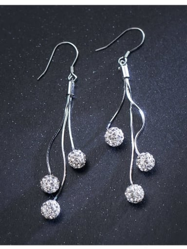 925 Sterling Silver Rhinestone Tassel Minimalist Hook Earring
