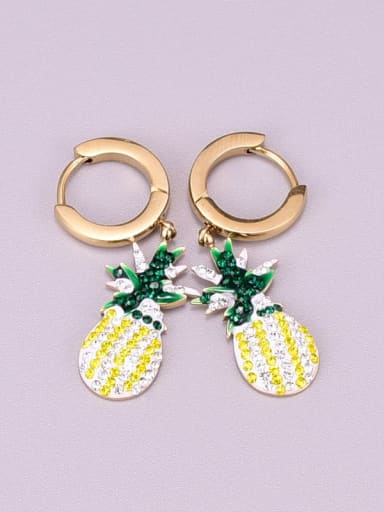 Titanium Rhinestone Multi Color Friut Cute Huggie Earring