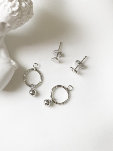925 Sterling Silver Smooth Heart Hollow Round  Minimalist Stud Earring