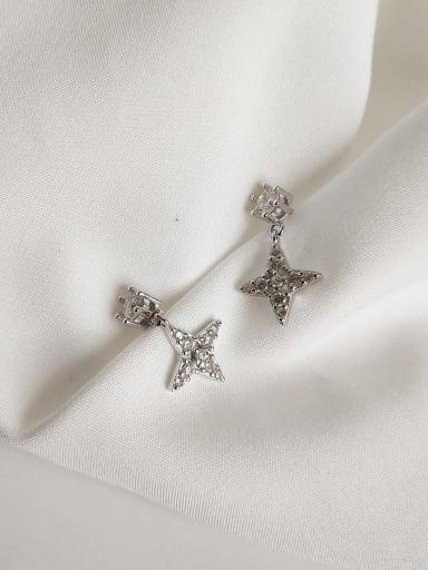 925 Sterling Silver Cubic Zirconia White Cross Vintage Stud Earring