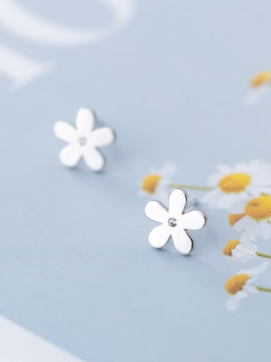 925 Sterling Silver With Platinum Plated Minimalist Smooth Flower Stud Earrings