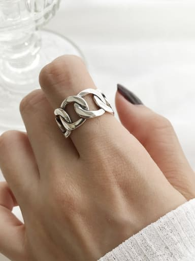925 Sterling Silver Vintage  Wide Chain  Free Size Midi Ring