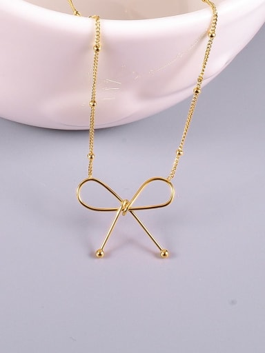 Titanium Hollow Bowknot Minimalist pendant Necklace