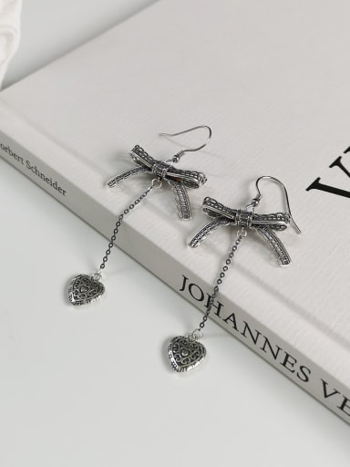 925 Sterling Silver Rhinestone Gray Bowknot Vintage Threader Earring