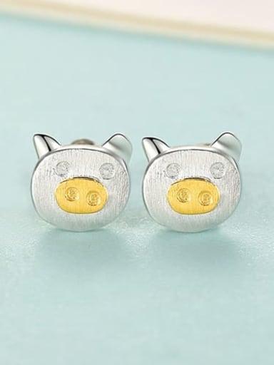 SE0297 Rh 24D12 925 Sterling Silver Pig Minimalist Stud Earring