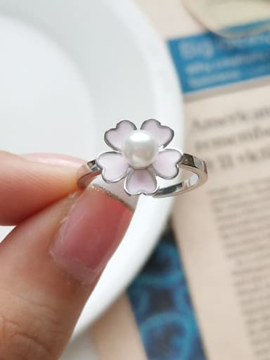 925 Sterling Silver  Imitation Pearl  Flower Minimalist Vintage  free size Ring