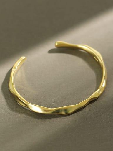 925 Sterling Silver smooth Irregular Minimalist Cuff Bangle