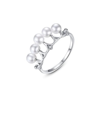 925 Sterling Silver Imitation Pearl White Crown Minimalist Band Ring