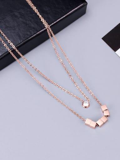 Rose Gold Titanium Smooth  Squares  Necklace