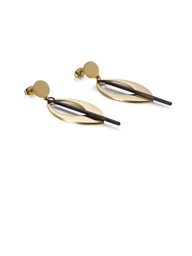 Golden black Stainless Steel Hollow Geometric Minimalist Drop Earring