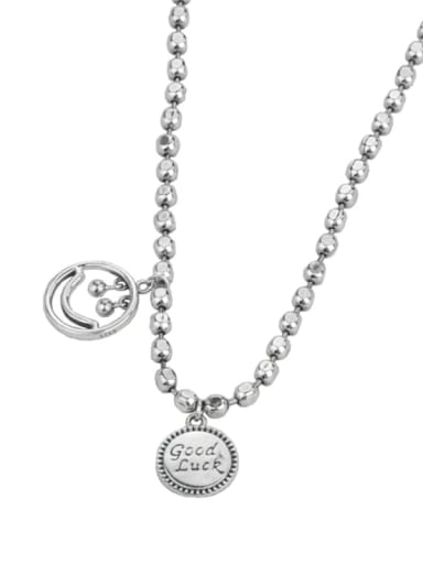 Vintage Sterling Silver With Platinum Plated Simplistic Round Beads Necklaces