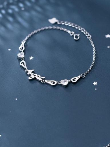 925 Sterling Silver Cubic Zirconia  Letter Minimalist Bracelet
