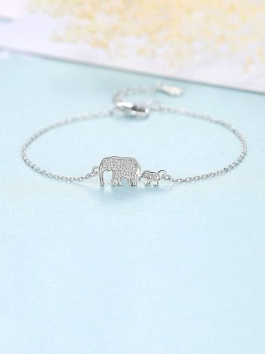 Platinum 12E11 925 Sterling Silver Cubic Zirconia  Minimalist Elephant Link Bracelet