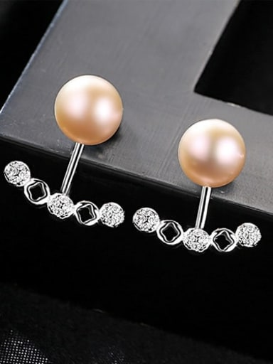 Purple 1d20 925 Sterling Silver Freshwater Pearl White Geometric Trend  Two belts Stud Earring