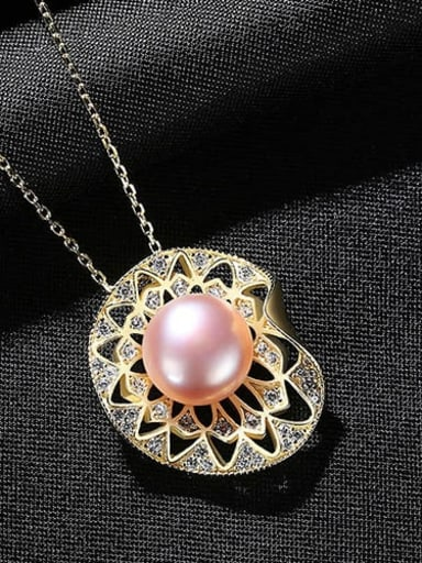 Purple 7d12 925 Sterling Silver Imitation Pearl Geometric Vintage Necklace