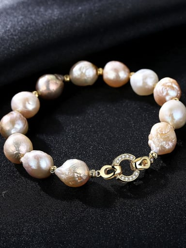 Mixed color length 9d03 925 Sterling Silver Freshwater Pearl Bracelet