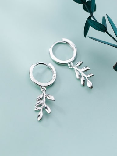 925 Sterling Silver Leaf Minimalist Huggie Earring