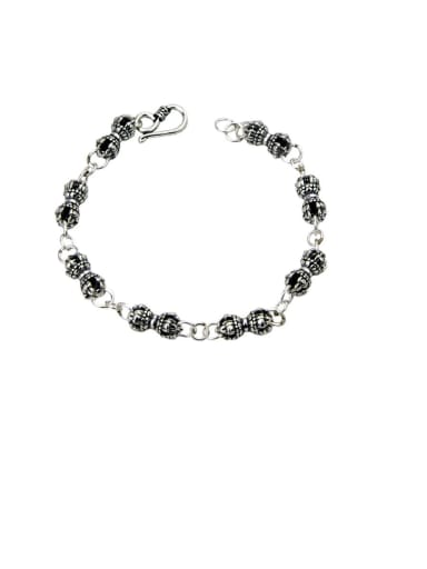 Vintage Sterling Silver With Simple Retro Hollow Chain Bracelets