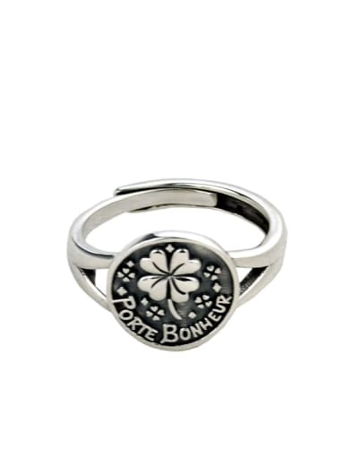 Vintage Sterling Silver With Antique Silver Plated Vintage Flower Free Sizd Rings