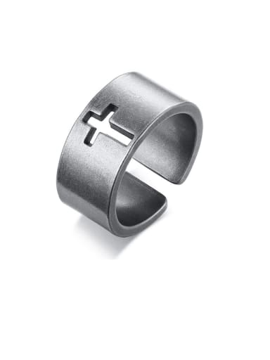 Stainless Steel With Simple Hollow Cross Free Size Rings