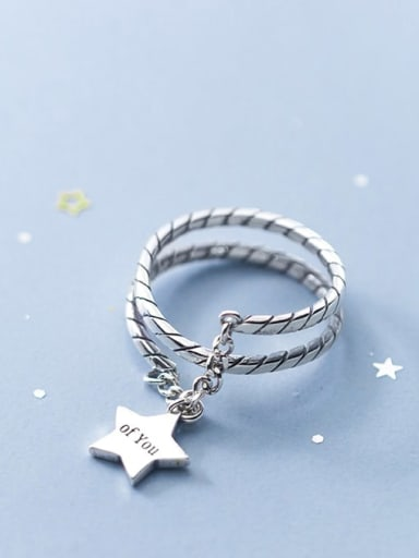 925 Sterling Silver Star Vintage Stackable Ring
