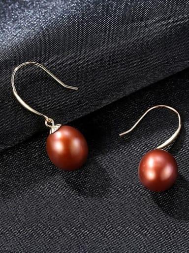 Jujube 04b04 925 Sterling Silver Freshwater Pearl Multi Color Oval Minimalist Hook Earring
