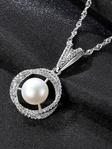 White 6E03 925 Sterling Silver 3A Zircon Freshwater Pearl Pendant Necklace