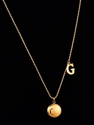 Titanium Minimalist Letter B  Ball  Beaded chain Necklace