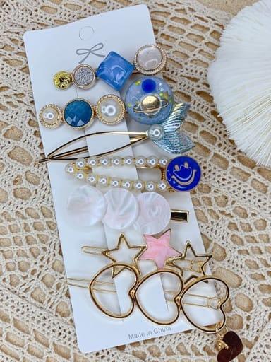 Mermaid seven piece set Alloy Resin Popular eight-piece suit Bangs clip Mermaid Hairpin Headgear