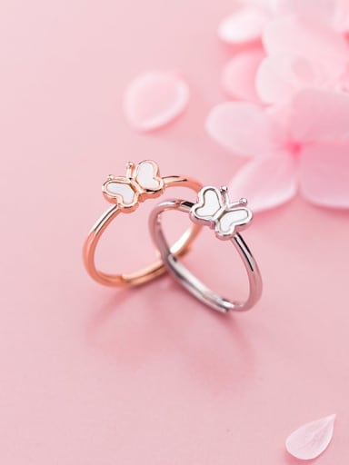 925 Sterling Silver Shell White Butterfly Cute Free Size Ring