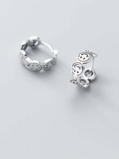 925 Sterling Silver Face Vintage Stud Earring
