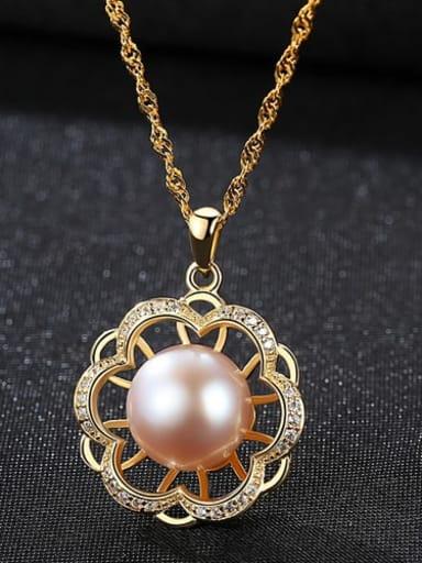 Purple 5G09 925 Sterling Silver Freshwater Pearl Hollow zircon flower pendant  Necklace