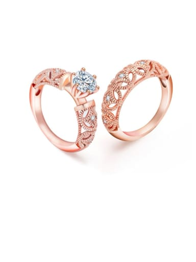 Copper Cubic Zirconia Hollow Irregular Minimalist Band Ring