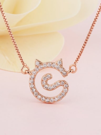 rose gold Brass Cubic Zirconia Cat Cute Necklace