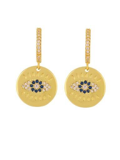 eye Copper Cubic Zirconia Flower Minimalist Drop Earring