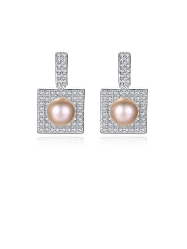 925 Sterling Silver Cubic Zirconia Square Trend Stud Earring