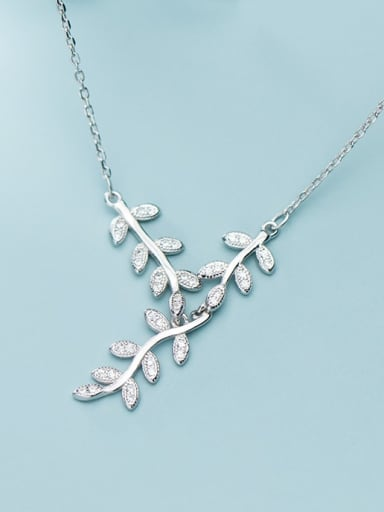 925 Sterling Silver Cubic Zirconia Leaf Dainty Necklace