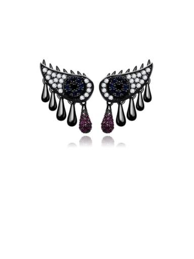 black Copper Cubic Zirconia Black Evil Eye Trend Drop Earring