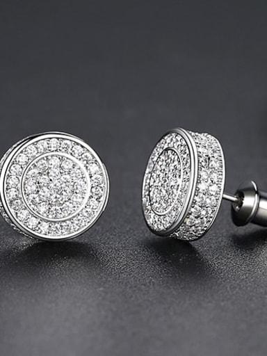 White zirconium Plated Platinum t04f22 Copper Cubic Zirconia Round Minimalist Cluster Earring