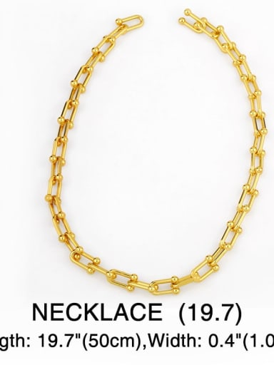 Necklace 50cm Brass Hollow Geometric Vintage chain Necklace