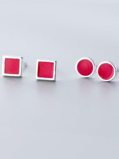 925 Sterling Silver Red Enamel Geometric Minimalist Stud Earring