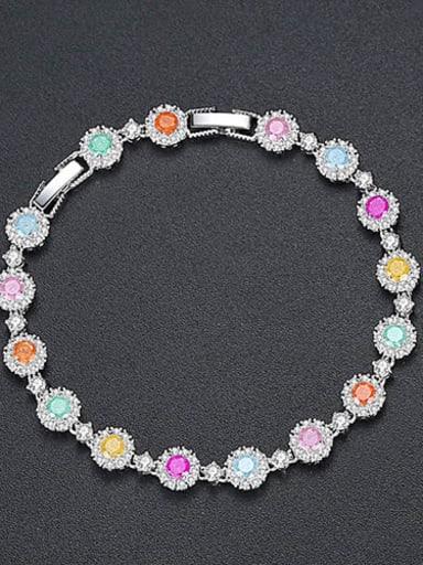 Copper Cubic Zirconia Multi Color Geometric Dainty Bracelet