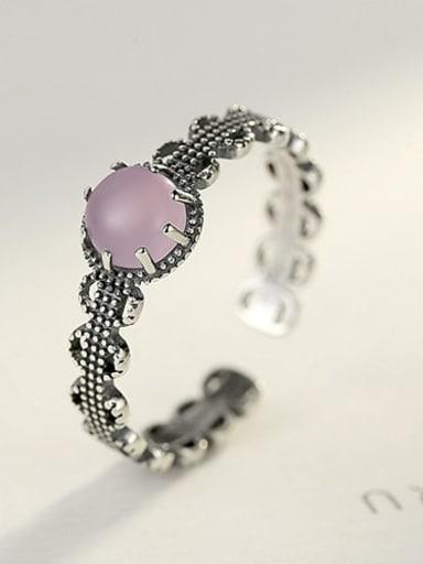 Pink 10H02 925 Sterling Silver Agate Black Geometric Vintage Band Ring