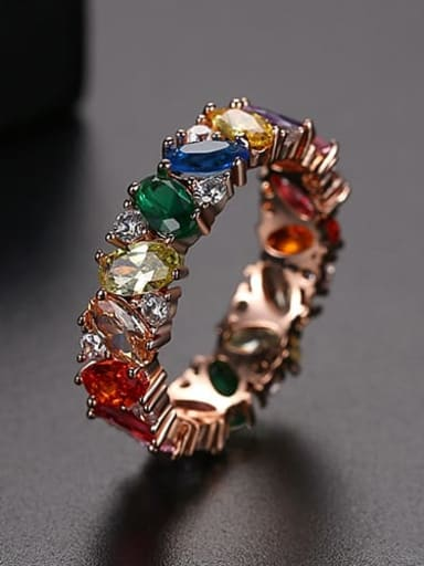 Rose Gold US 8 Copper Cubic Zirconia Multi Color Geometric Dainty Band Ring