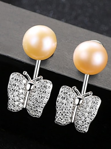 Pink 2D08 925 Sterling Silver Freshwater Pearl Irregular Earring