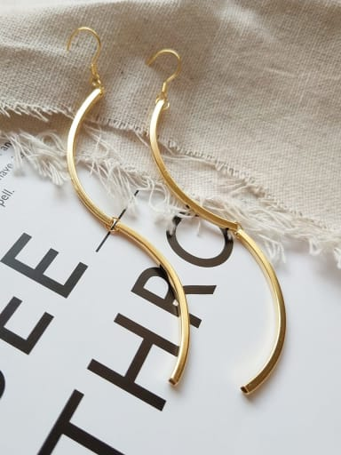 925 Sterling Silver minimalist gold curve Tassel Earrings