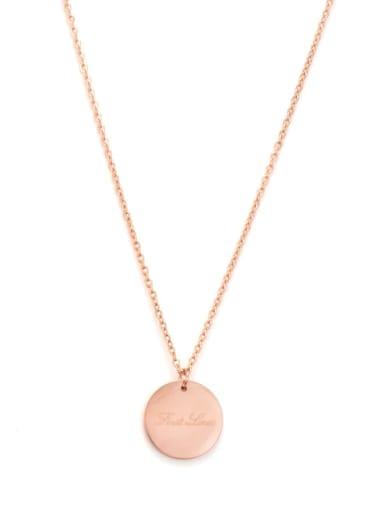 Titanium  Round Letter  Necklace