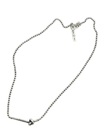 Vintage Sterling Silver With Antique Silver Plated Fashion Round Beads Necklaces